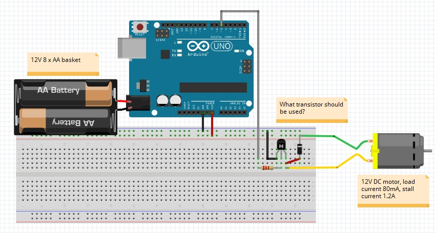 12V DC motor from Arduino Uno using single power source