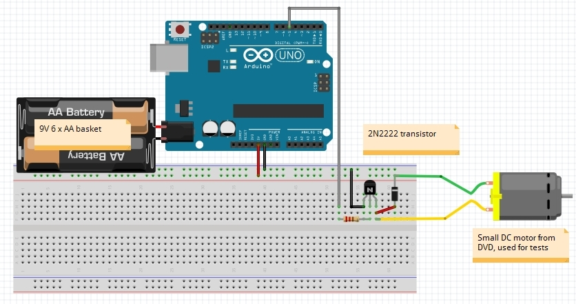 V dc motor from arduino uno using single power source